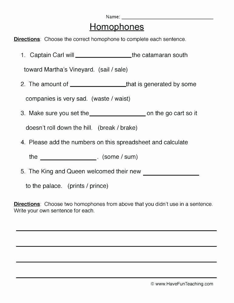 Homophone Worksheet 4th Grade Homophones Worksheet 2 Worksheets Resources Homophones