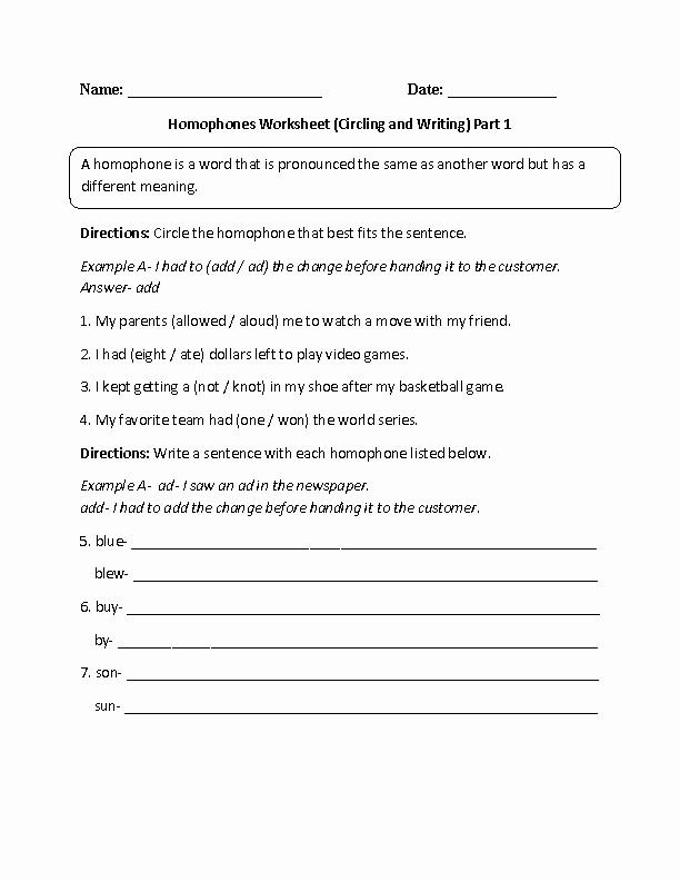 Homophone Worksheets 5th Grade Englishlinx