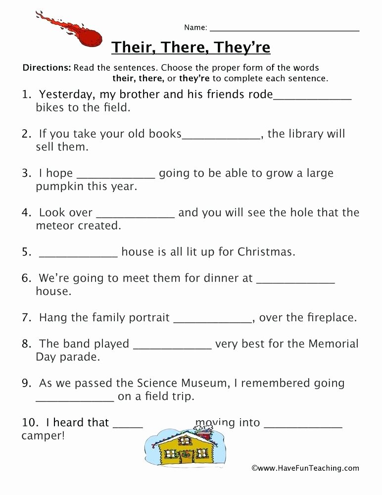 Homophone Worksheets 5th Grade Homophones Worksheet 7 Worksheets for 1st Grade there and their