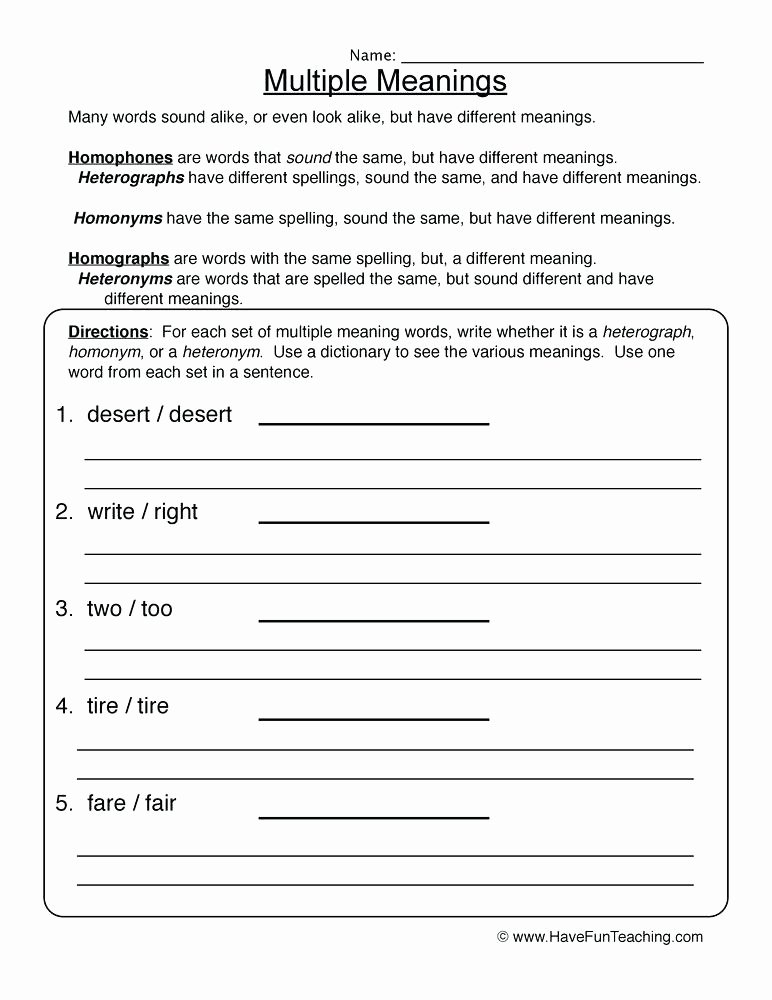 Homophone Worksheets 5th Grade Resources Homophones Worksheets Multiple Meanings Words