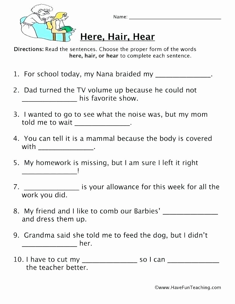 Homophone Worksheets Middle School Grammar Worksheets with Answers