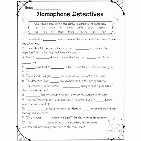 Homophone Worksheets Middle School Homonyms Worksheets