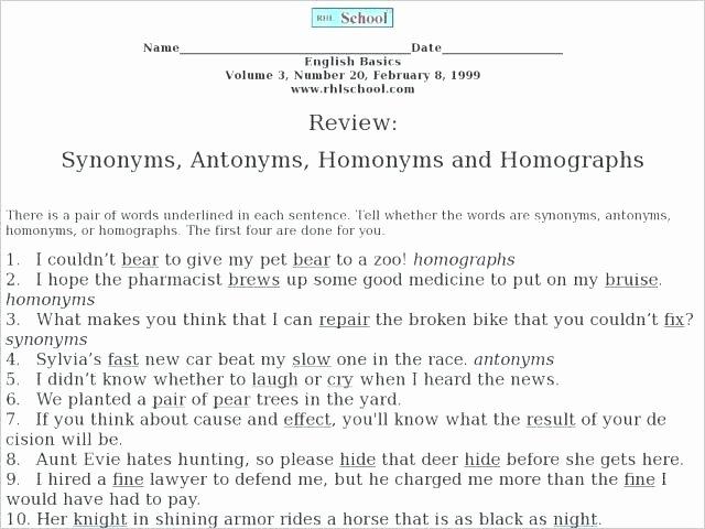 Homophone Worksheets Middle School Homophones Worksheet Choose the Correct Homophone Worksheets
