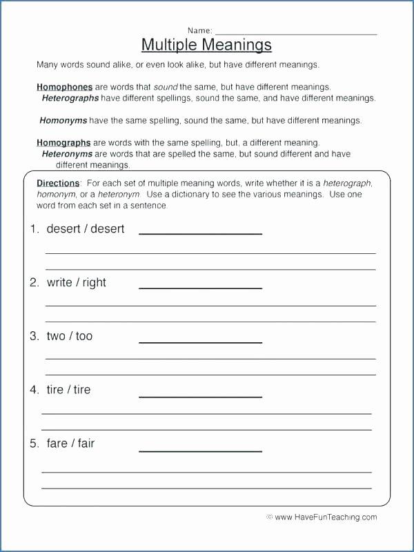 Homophone Worksheets Middle School Multiple Meaning Worksheets Multiple Meaning Worksheets