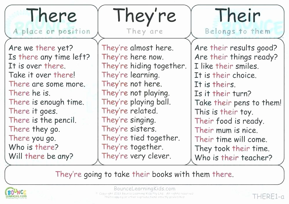 Homophone Worksheets Middle School there and their Worksheets