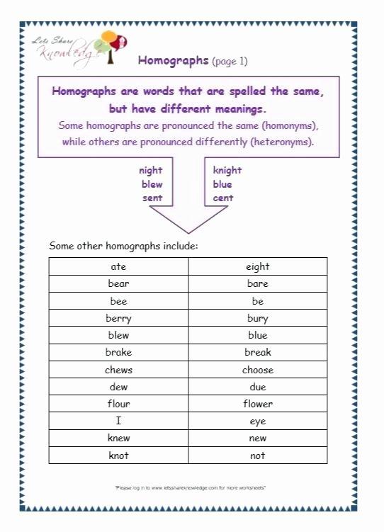 Homophones and Homographs Worksheet Homograph Worksheets Free 5th Grade What are Homographs