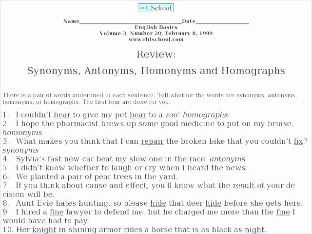 Homophones and Homographs Worksheet Homophones Review Worksheet Homonyms and Homographs