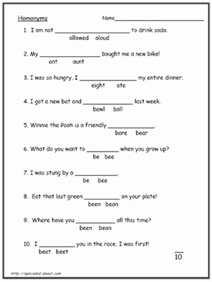 Homophones and Homographs Worksheets Homonyms Homophone Worksheets