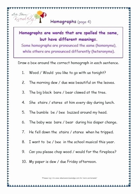 Homophones Worksheet 4th Grade Homograph Worksheets Grade Homographs Fresh Homophones and 4 for