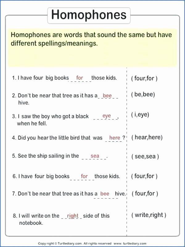 Homophones Worksheet 5th Grade Homophone Worksheet 2 Homophones Worksheets Pdf Grade 4