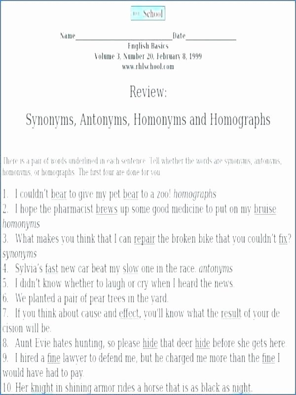 Homophones Worksheet 5th Grade Homophones Homographs Worksheets and for Grade 6 org