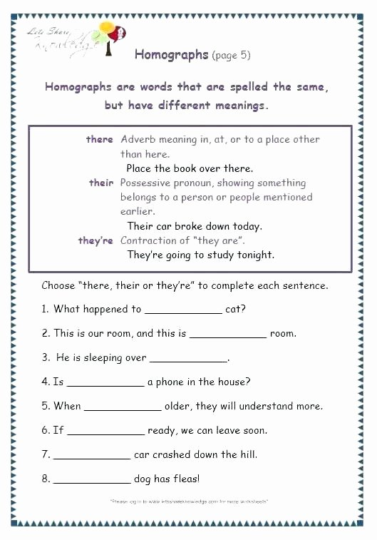 Homophones Worksheet 5th Grade Homophones Worksheets Grade 3 Worksheet New Choice Image
