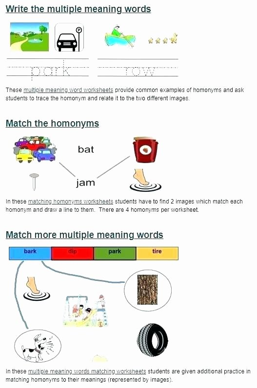 Homophones Worksheet 6th Grade Multiple Meaning Words Worksheets 6th Grade