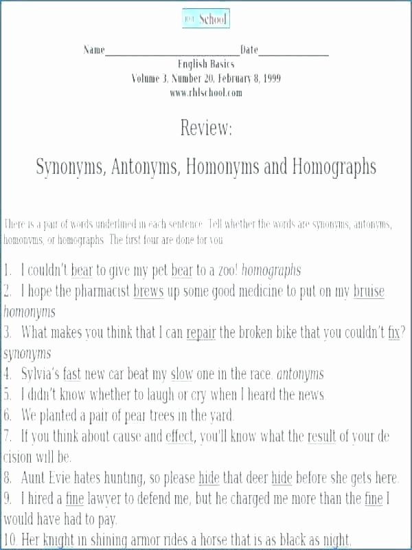 Homophones Worksheet High School Homonyms Homophones Homographs Worksheets Collection Free