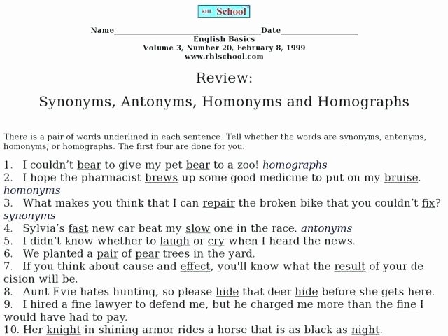 Homophones Worksheet Pdf Review Synonyms Antonyms Homonyms and Homographs Worksheet