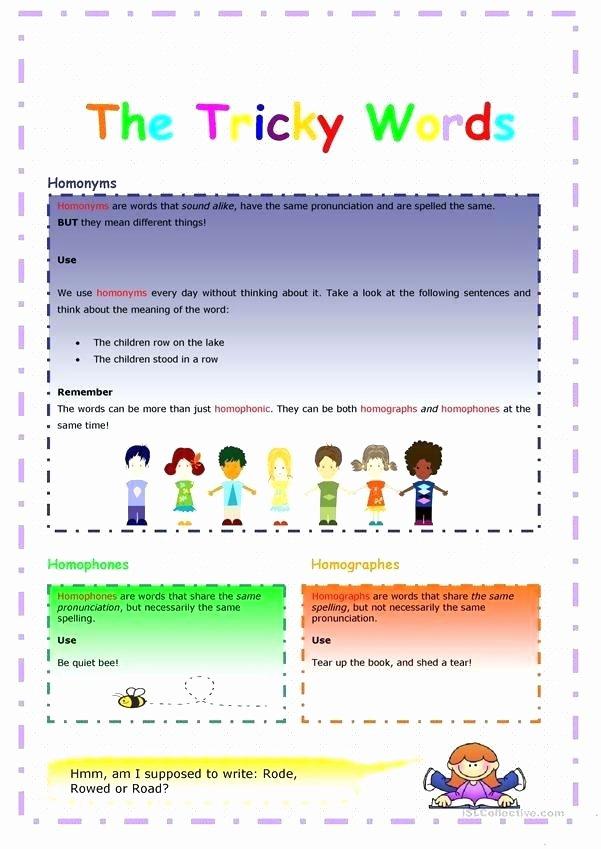 Homophones Worksheets 2nd Grade Free Homonyms Worksheets for Grade 1 Homograph Homographs
