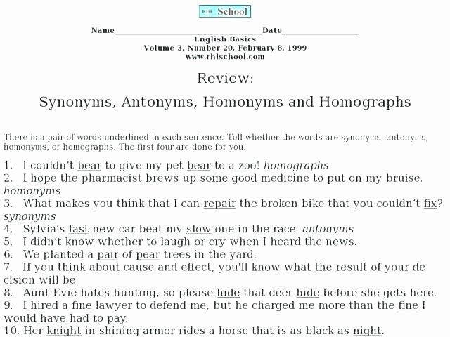 Homophones Worksheets 4th Grade Antonyms Worksheets for Grade 4 Synonyms and Antonyms