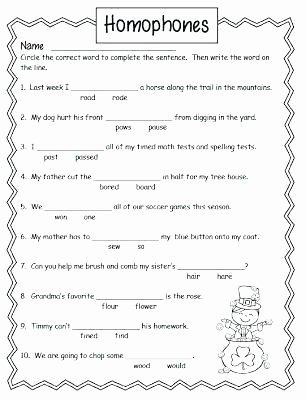 Homophones Worksheets 4th Grade Printable Homophone Worksheets