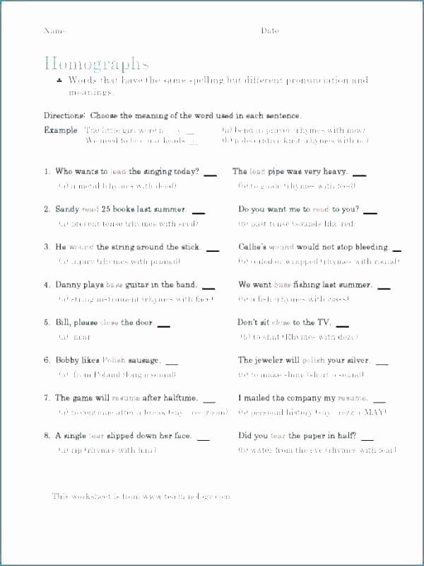 Homophones Worksheets for Grade 2 Homographs Worksheets for Grade 4