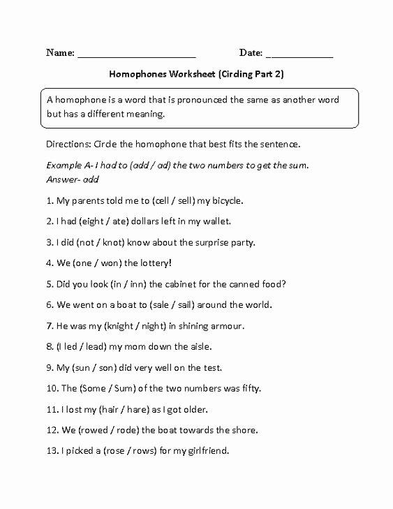 Homophones Worksheets for Grade 2 Sam England Samengland 2 On Pinterest