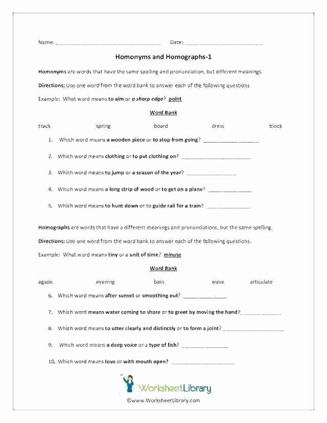 Homophones Worksheets for Grade 5 Free Printable Worksheets Synonyms Antonyms and Homonyms