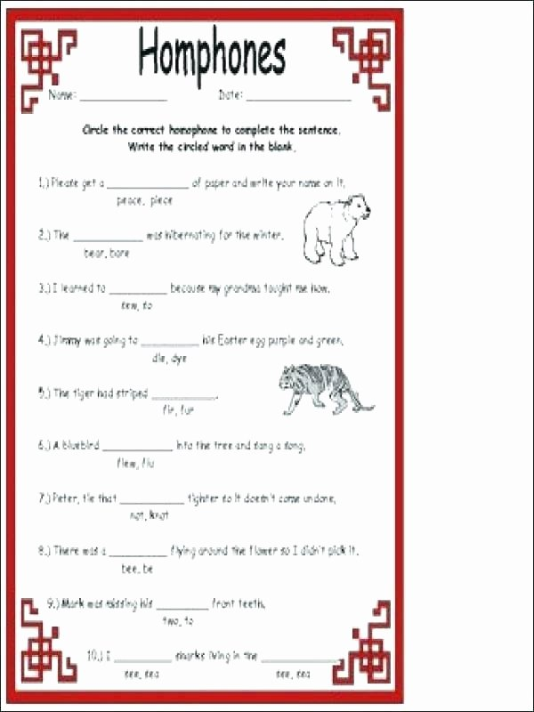 Homophones Worksheets for Grade 5 Homonyms Worksheets 4th Grade