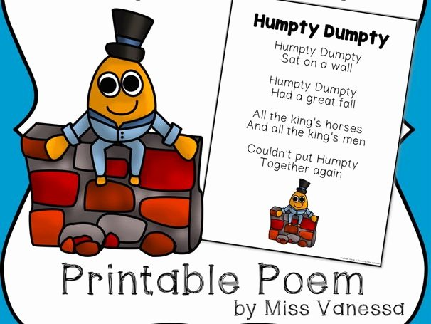 Humpty Dumpty Printable Book Free Humpty Dumpty Printable Poem for Poetry Journals & Sight Word Practice