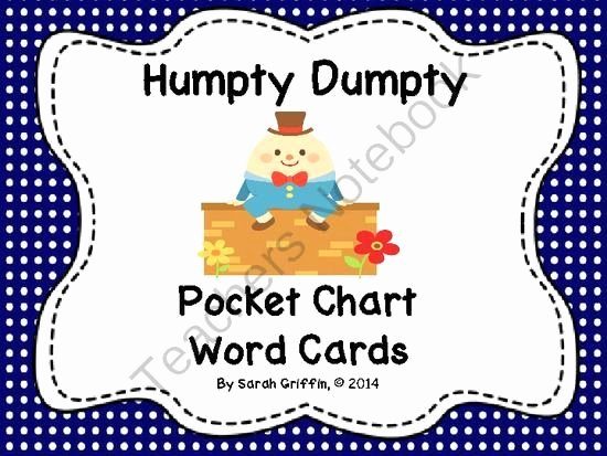 Humpty Dumpty Printable Book Humpty Dumpty Pocket Chart Word Cards From Sarah Griffin On