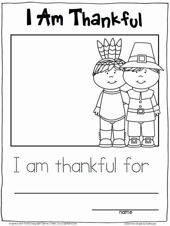 I Am Thankful for Worksheet Thanksgiving Writing for Kindergarten