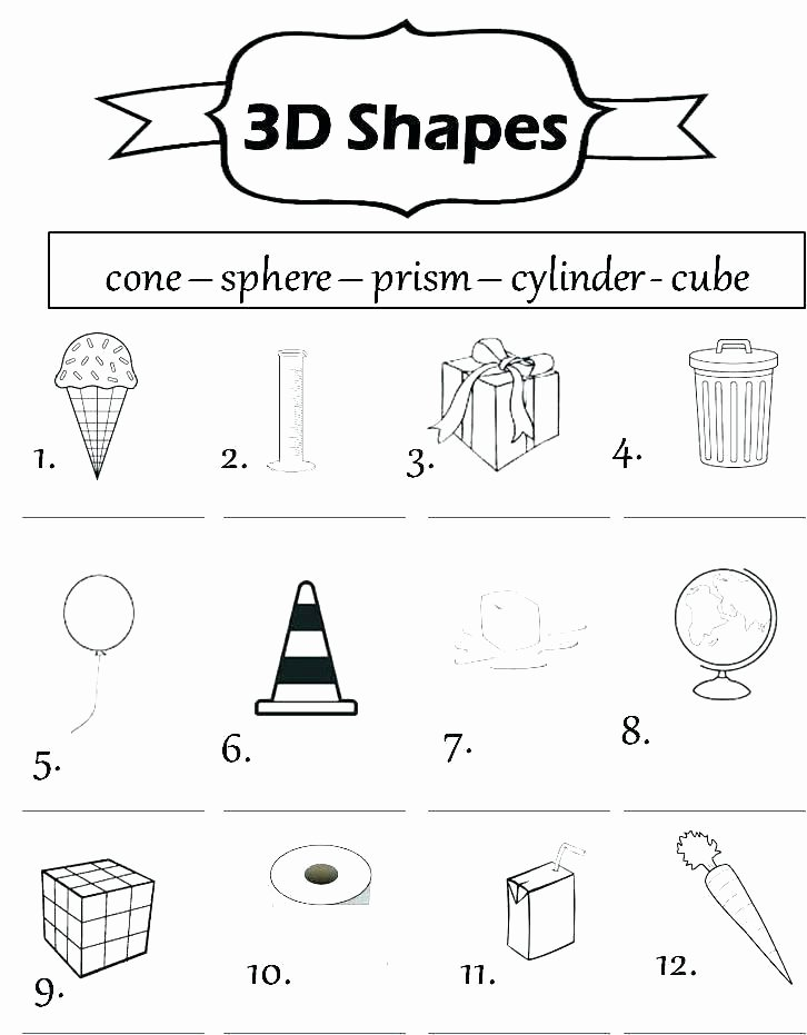 Identify Shapes Worksheet area Worksheets 2d and 3d Shapes Worksheets 2nd Grade 3d