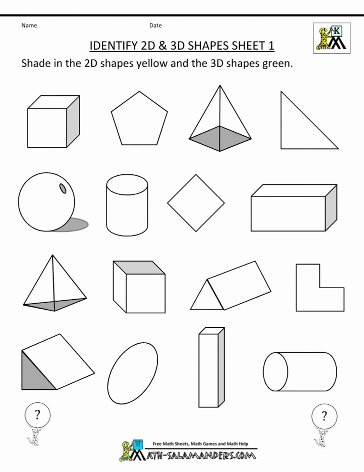 Identify Shapes Worksheet Kindergarten 033 Shapes Identify Spheres Cubes Worksheet Striking