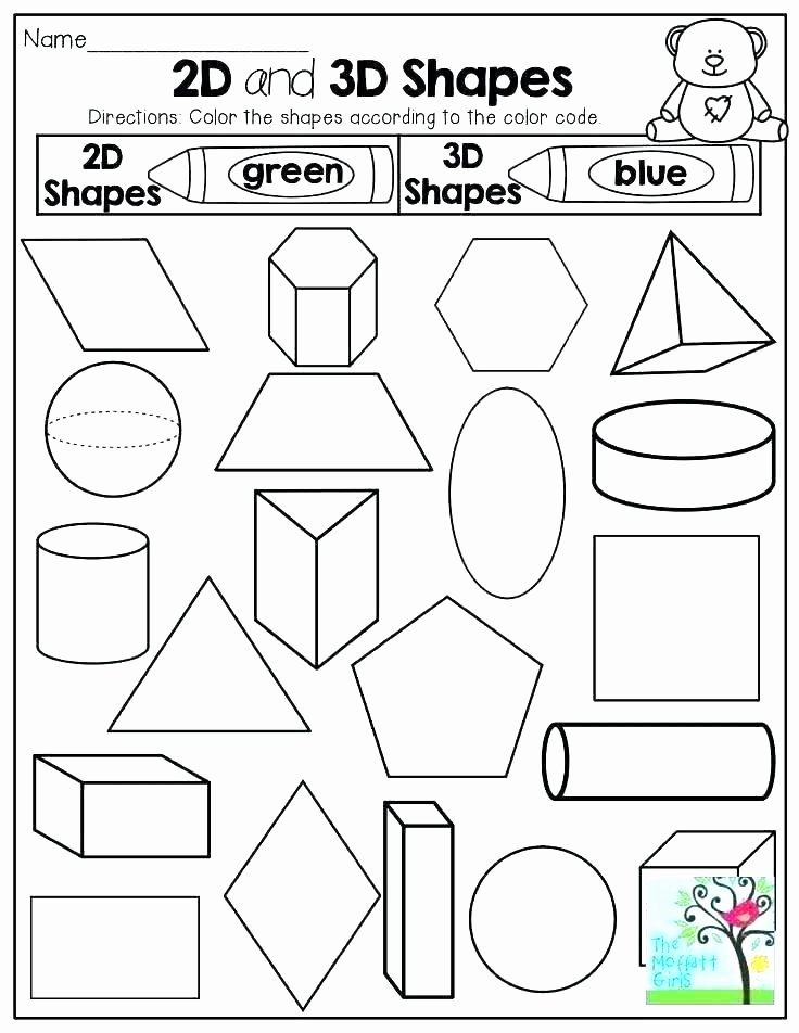 Identify Shapes Worksheet Kindergarten 3 D Shapes Worksheet Preview sorting Everyday Printable