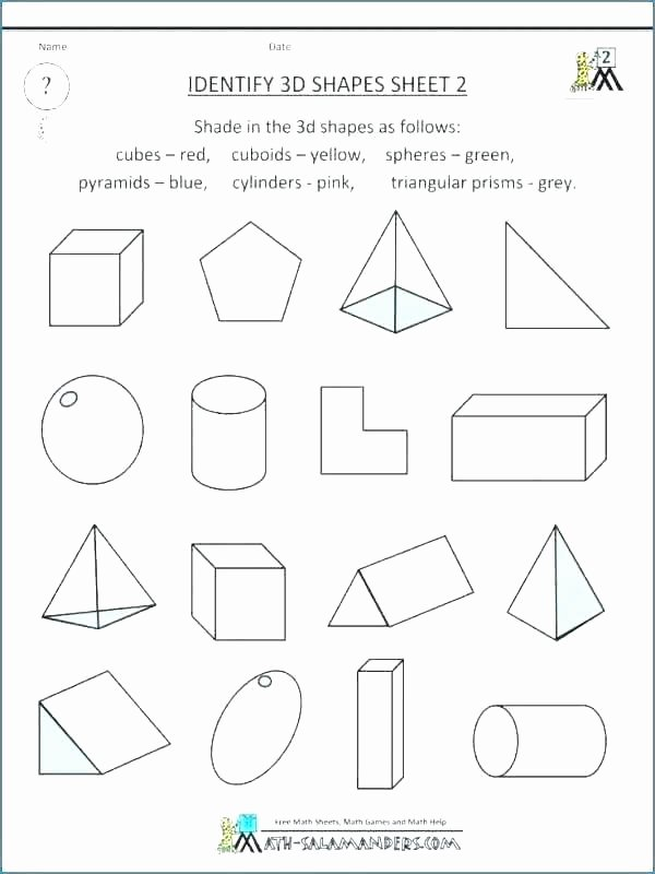 Identify Shapes Worksheet Kindergarten 3d Shapes Printable Worksheets