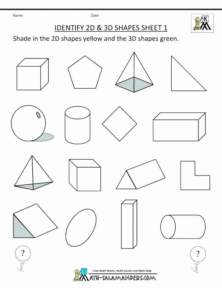 Identify Shapes Worksheet Kindergarten 3d Shapes Worksheets Kindergarten