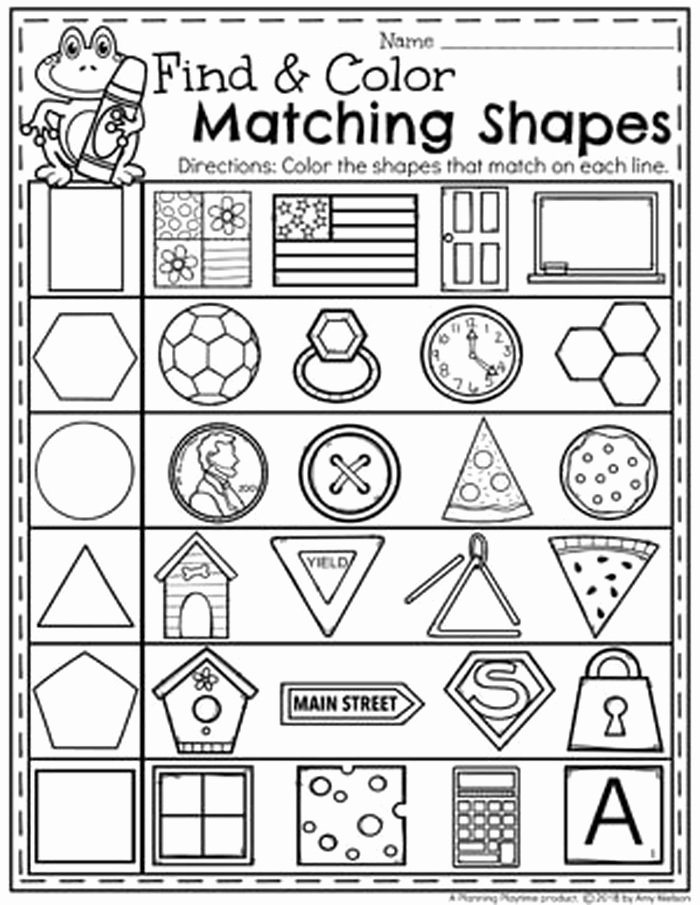 Identify Shapes Worksheet Kindergarten 9 Matching Shapes to Objects Worksheets On Shapes for
