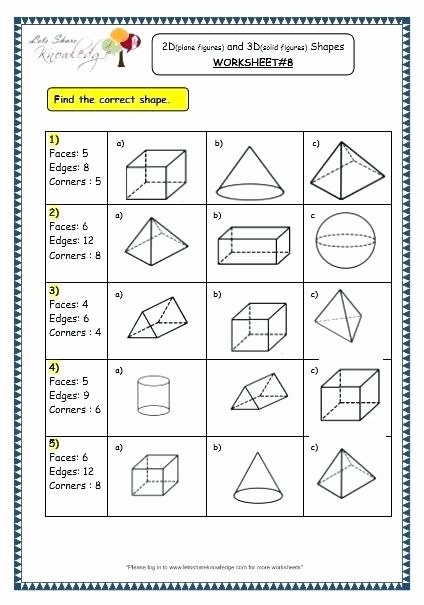 Identify Shapes Worksheet solid Figures Worksheets