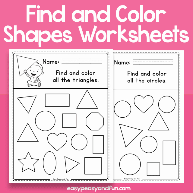 Identifying 2d Shapes Worksheets Find and Color Shapes Worksheets – Easy Peasy and Fun Membership