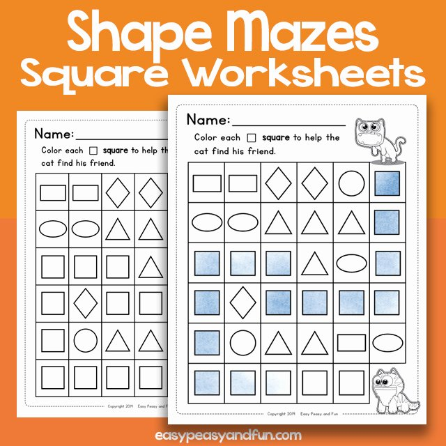 Identifying 2d Shapes Worksheets Shape Mazes Square Worksheets – Easy Peasy and Fun Membership