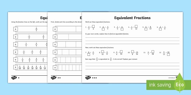 Identifying Fraction Worksheets Equivalent Fractions Worksheet Primary Resources