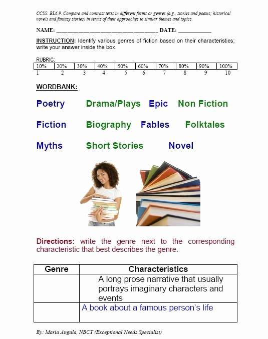 Identifying Genre Worksheets Short Quiz On Genre Rl 6 9 Teacher sol S Board