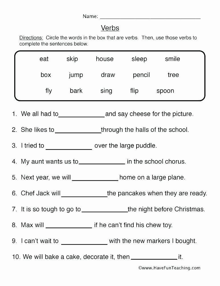 Identifying Nouns and Verbs Worksheets Descriptive Language Worksheets