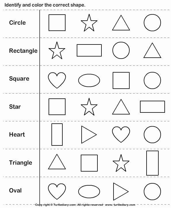 Identifying Shapes Worksheets Kindergarten Shapes Worksheets & Shapes Colors Printable