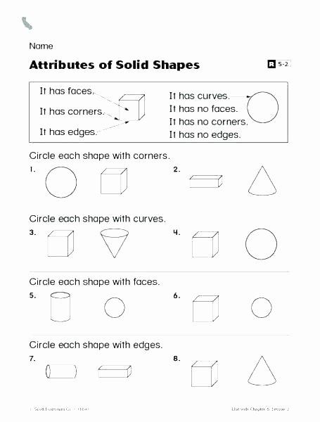 Identifying Shapes Worksheets solid Figures Worksheets