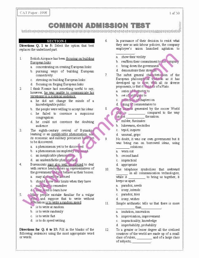 Identifying theme 2 Answers Cat 1998 Previous Year Question Paper with Answer Key