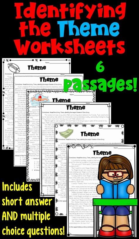 Identifying theme Worksheets Answers Luxury theme Worksheet 6