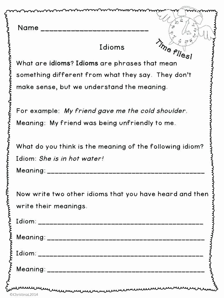 Idiom Worksheets for 2nd Grade Idiom Worksheets Pack Grammar and This Contains the First