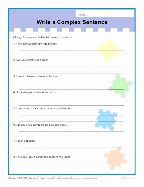 Improving Sentence Structure Worksheets Write A Plex Sentence Structure Worksheets Academic