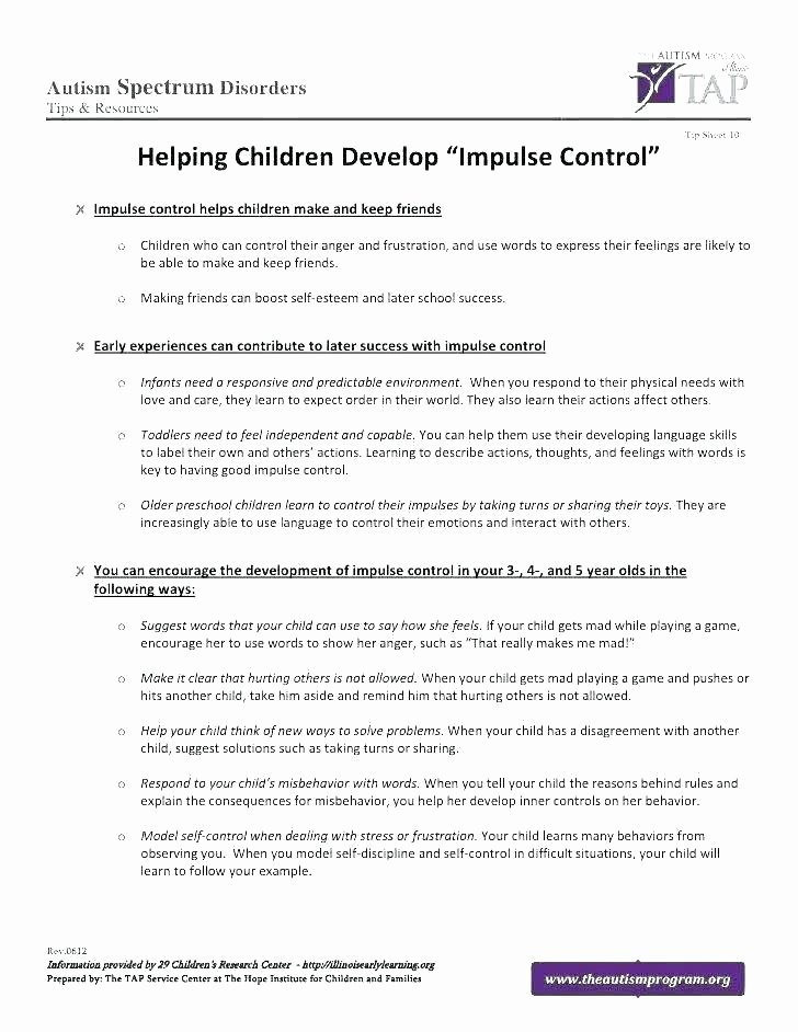 Impulse Control Worksheets Pdf Luxury Self Control Worksheets for Children
