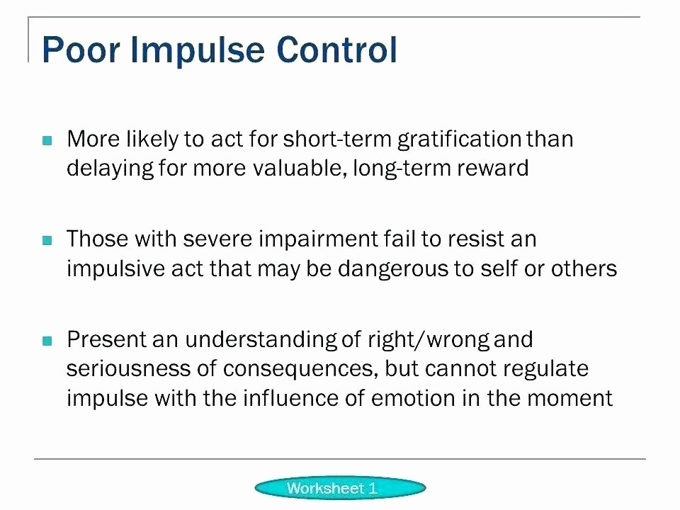 Impulse Control Worksheets Printable Free Printable Psychology Worksheets with Answers Bipolar