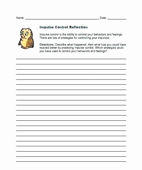 Impulse Control Worksheets Printable Impulse Control Worksheets for Adults
